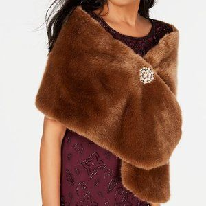 Adrianna Papell faux-fur shawl stole -TAN